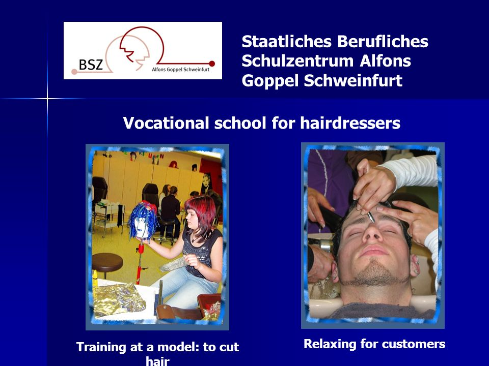 Relaxing for customers Training at a model: to cut hair