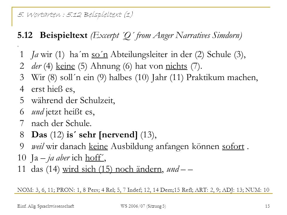5. Wortarten : 5. 12 Beispieltext (1) 5