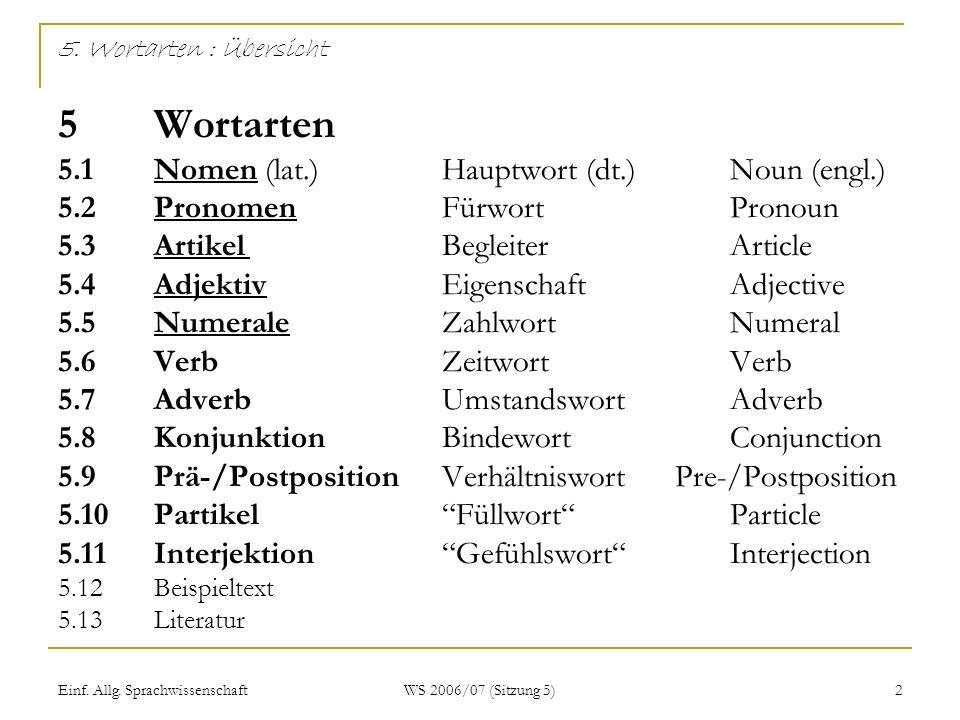 5. Wortarten : Übersicht 5. Wortarten 5. 1. Nomen (lat. )