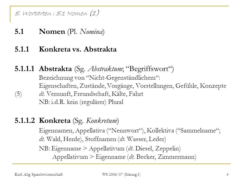 5. Wortarten : 5. 1 Nomen (1) 5. 1. Nomen (Pl. Nomina) 5. 1. 1