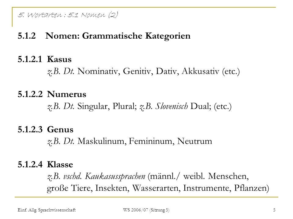 5. Wortarten : 5. 1 Nomen (2) 5. 1. 2 Nomen: Grammatische Kategorien 5