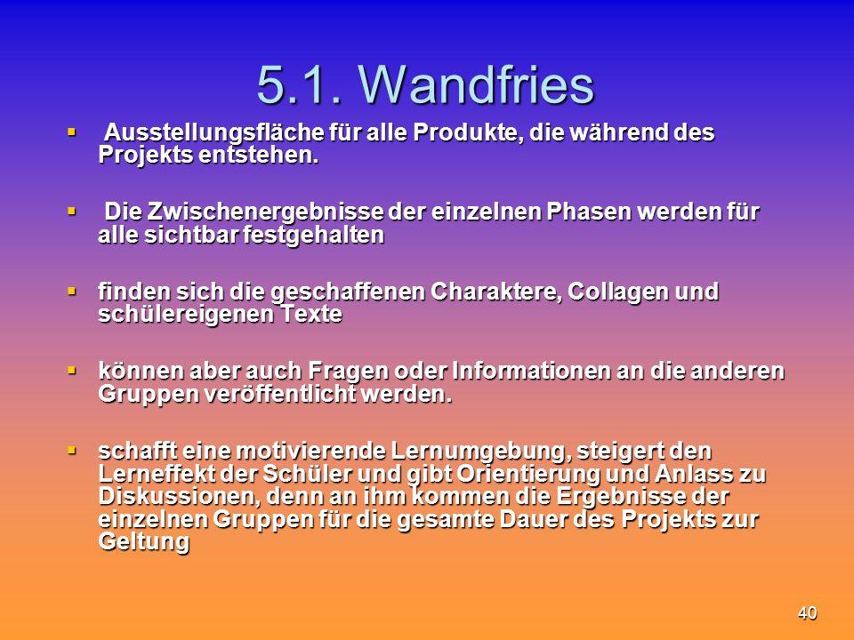 5.1. Wandfries Ausstellungsfläche für alle Produkte, die während des Projekts entstehen.