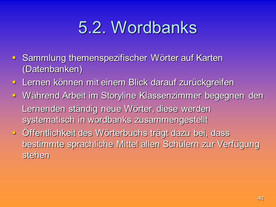 5.2. Wordbanks Sammlung themenspezifischer Wörter auf Karten (Datenbanken) Lernen können mit einem Blick darauf zurückgreifen.