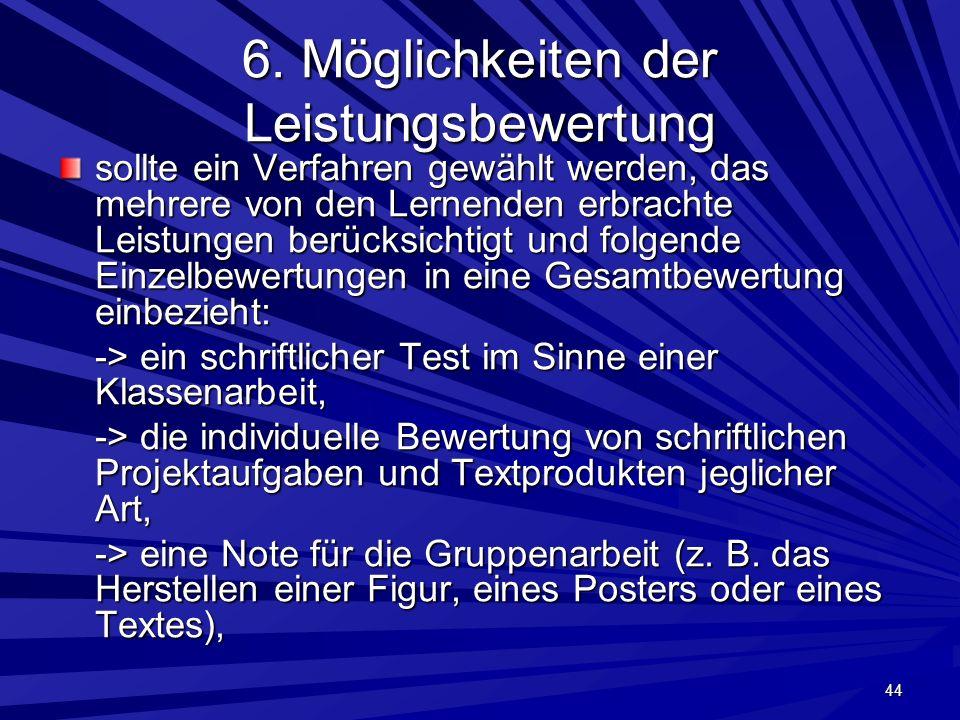 6. Möglichkeiten der Leistungsbewertung