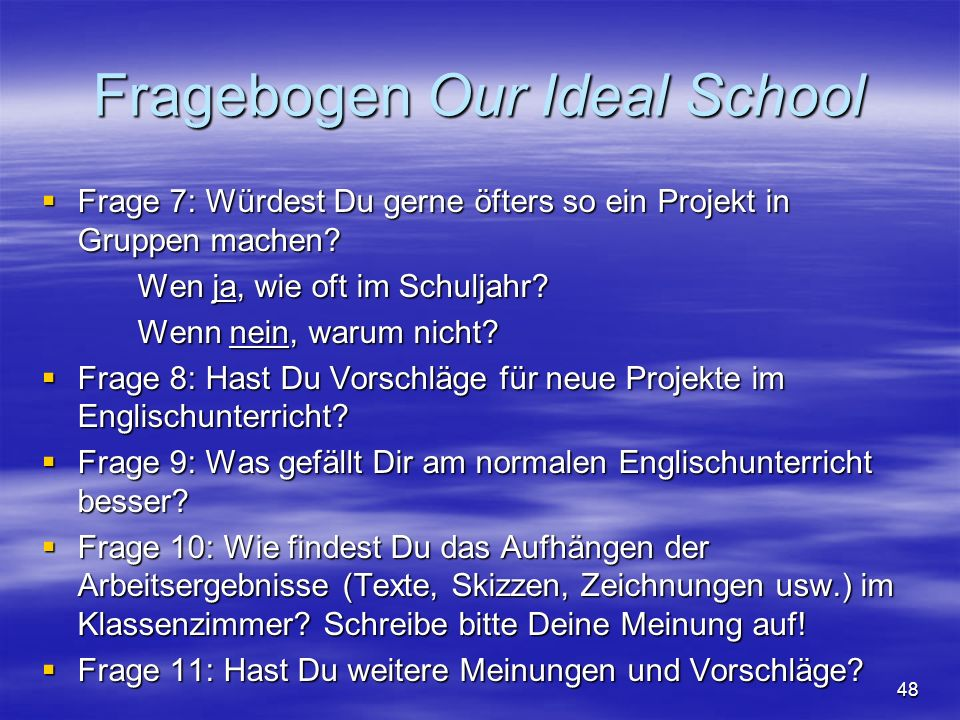 Fragebogen Our Ideal School