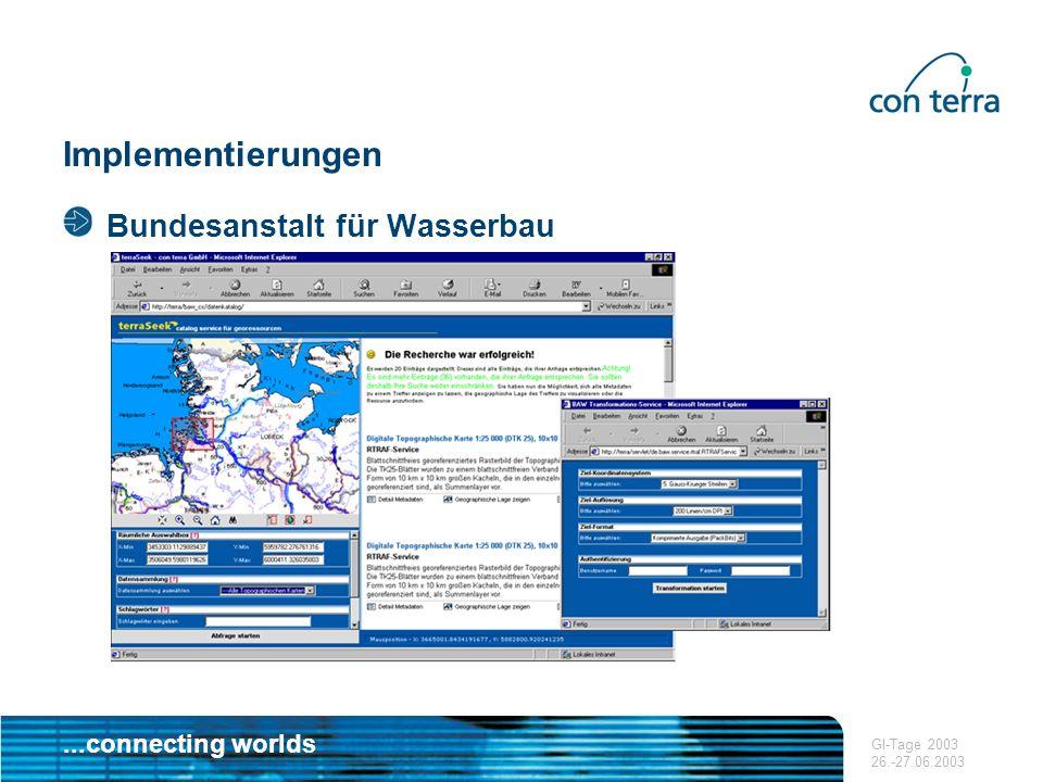 Implementierungen Bundesanstalt für Wasserbau GI-Tage 2003