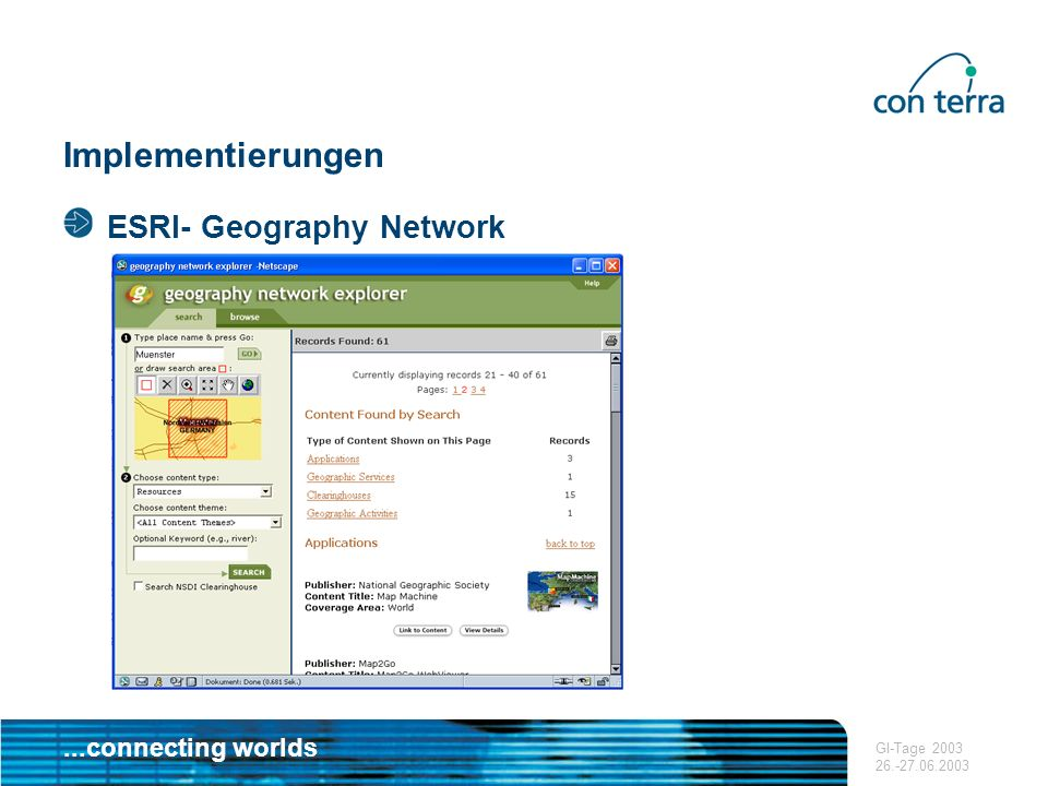 Implementierungen ESRI- Geography Network GI-Tage 2003 26.-27.06.2003