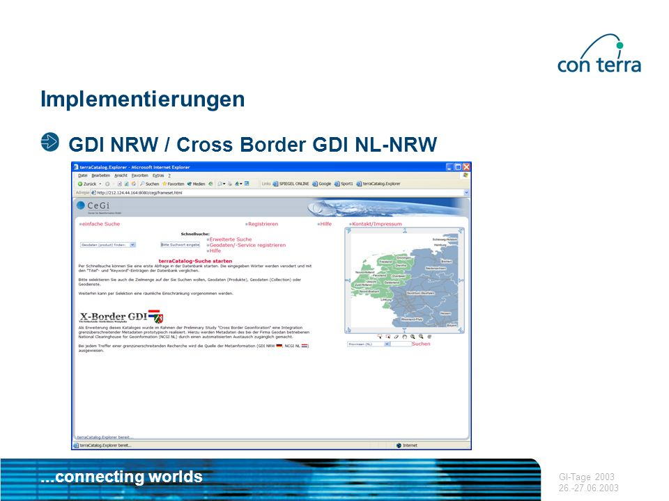 Implementierungen GDI NRW / Cross Border GDI NL-NRW GI-Tage 2003