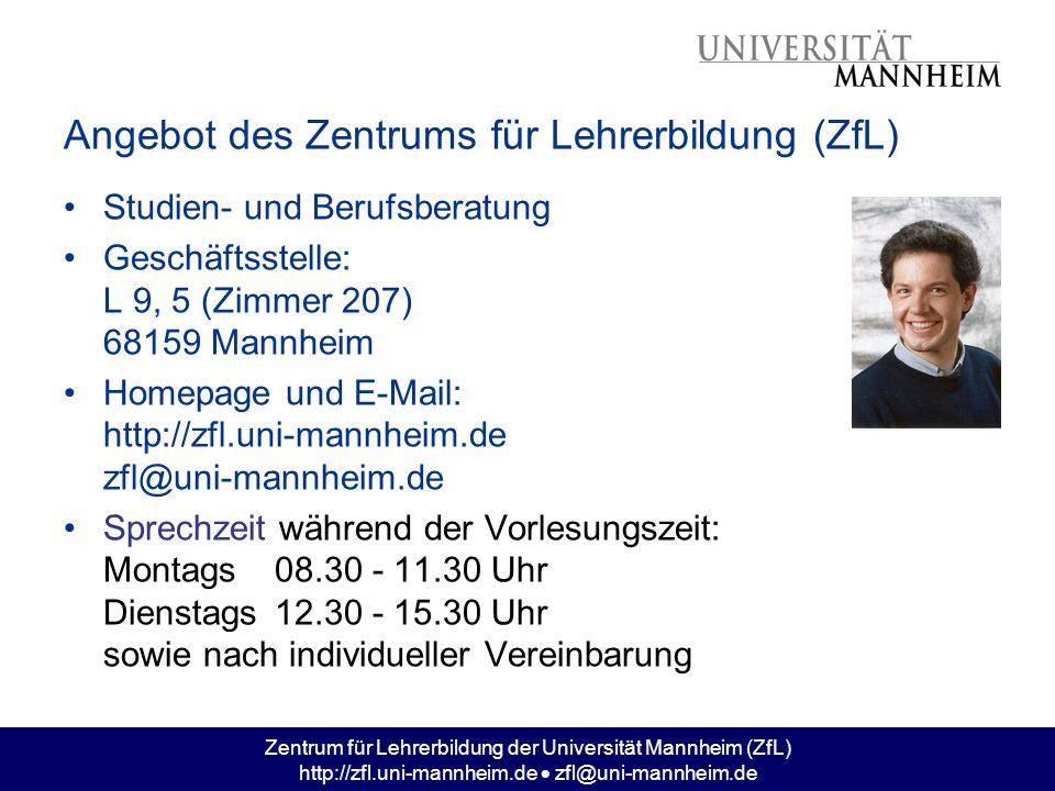 Angebot des Zentrums für Lehrerbildung (ZfL)