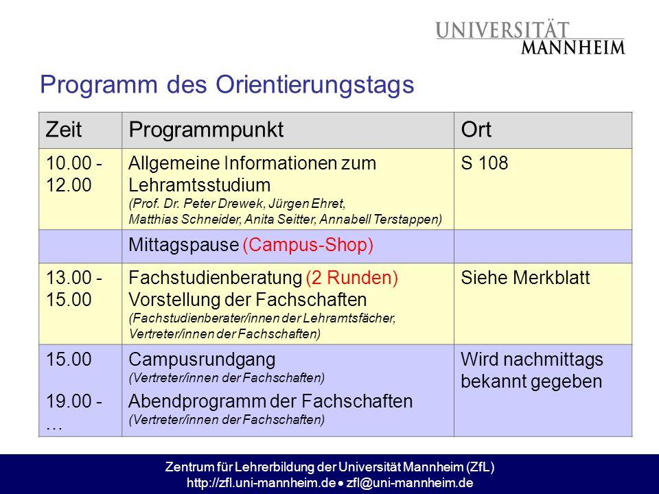 Programm des Orientierungstags