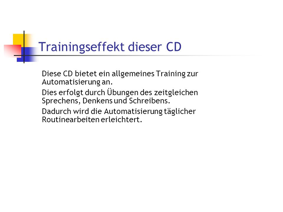 Trainingseffekt dieser CD