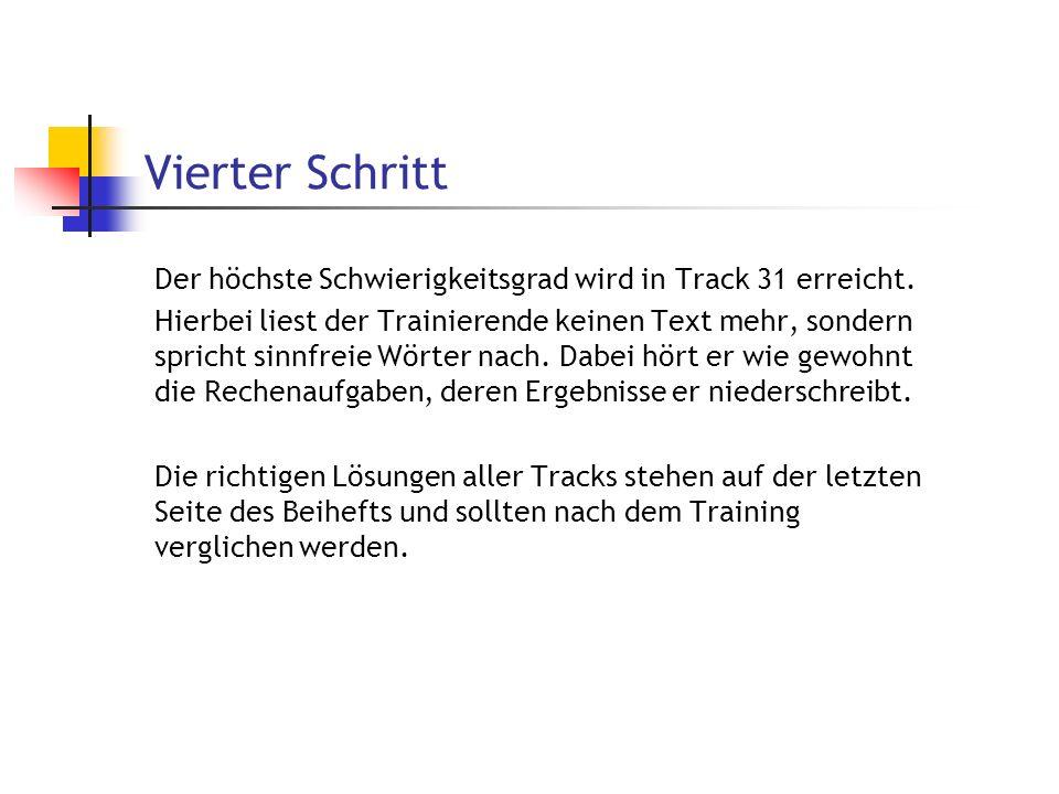 Vierter Schritt Der höchste Schwierigkeitsgrad wird in Track 31 erreicht.