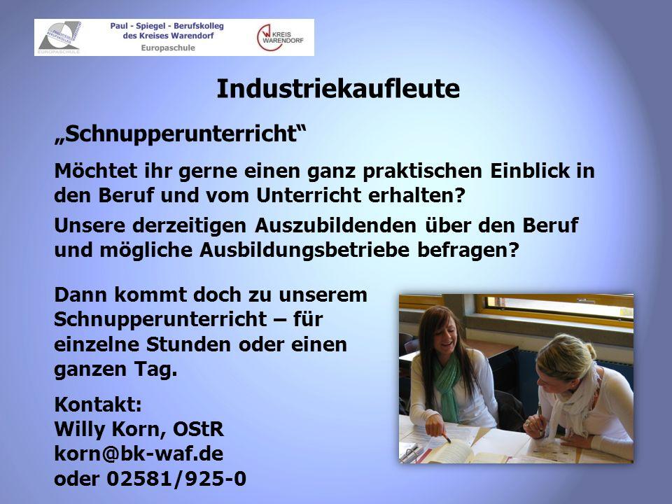 """Industriekaufleute """"Schnupperunterricht"""