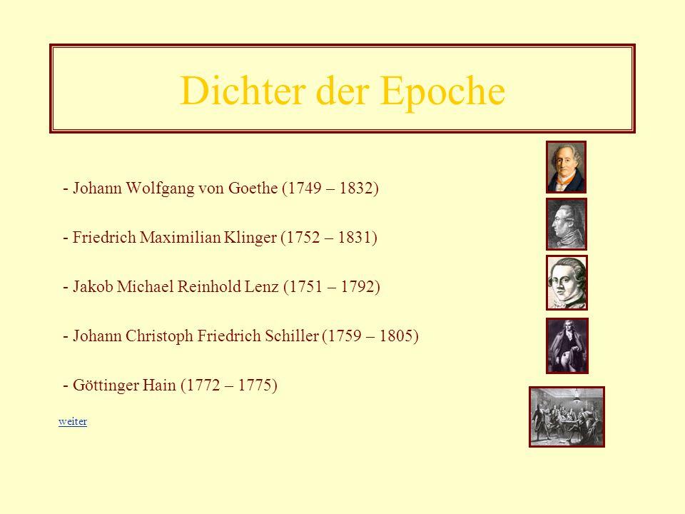 Dichter der Epoche - Johann Wolfgang von Goethe (1749 – 1832)