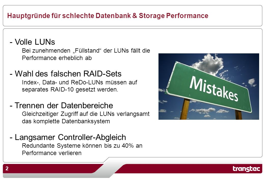 Hauptgründe für schlechte Datenbank & Storage Performance