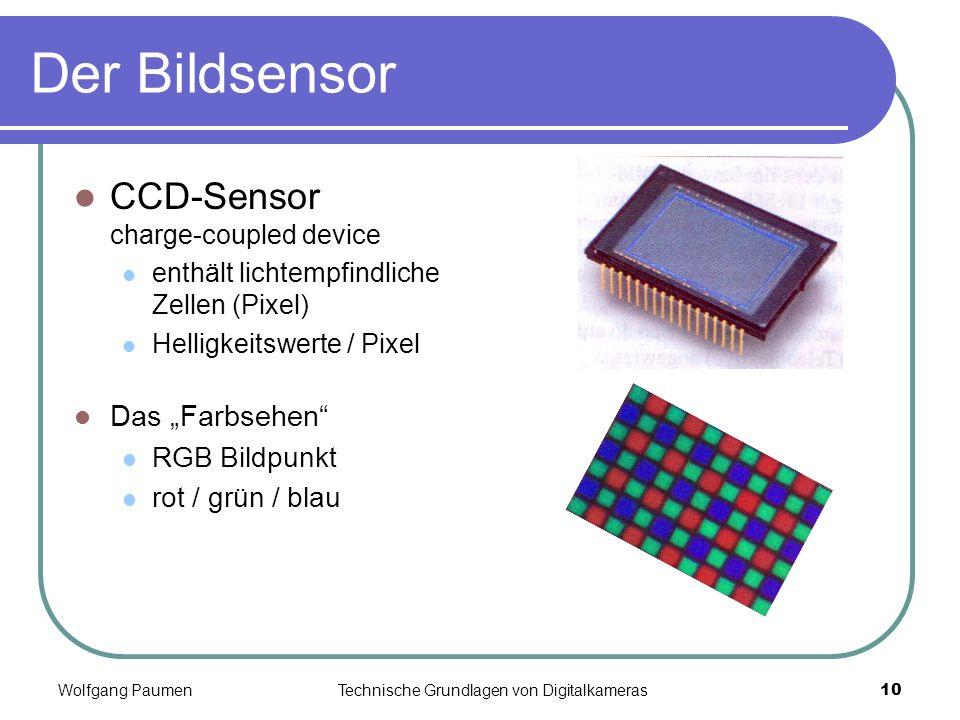 "Der Bildsensor CCD-Sensor charge-coupled device Das ""Farbsehen"