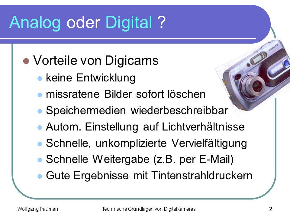 Analog oder Digital Vorteile von Digicams keine Entwicklung