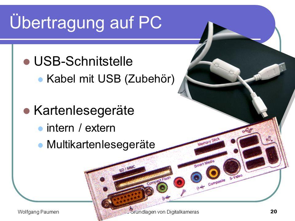 Übertragung auf PC USB-Schnitstelle Kartenlesegeräte