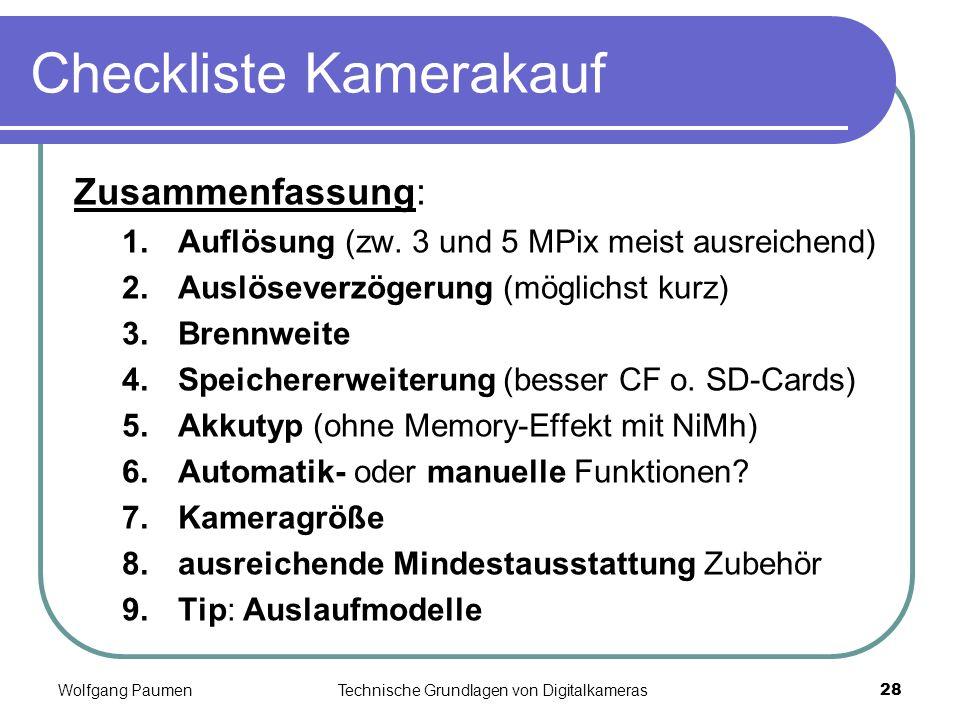 Checkliste Kamerakauf