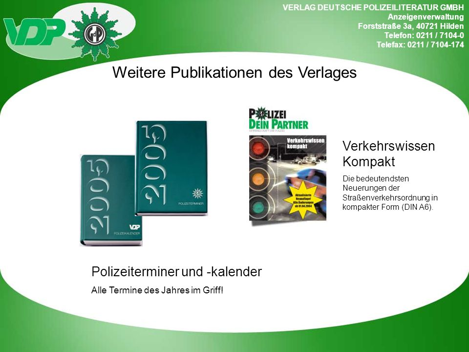 Weitere Publikationen des Verlages