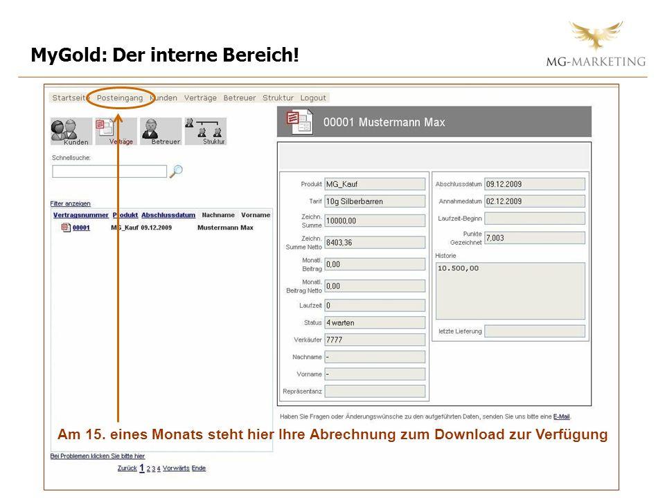 MyGold: Der interne Bereich!