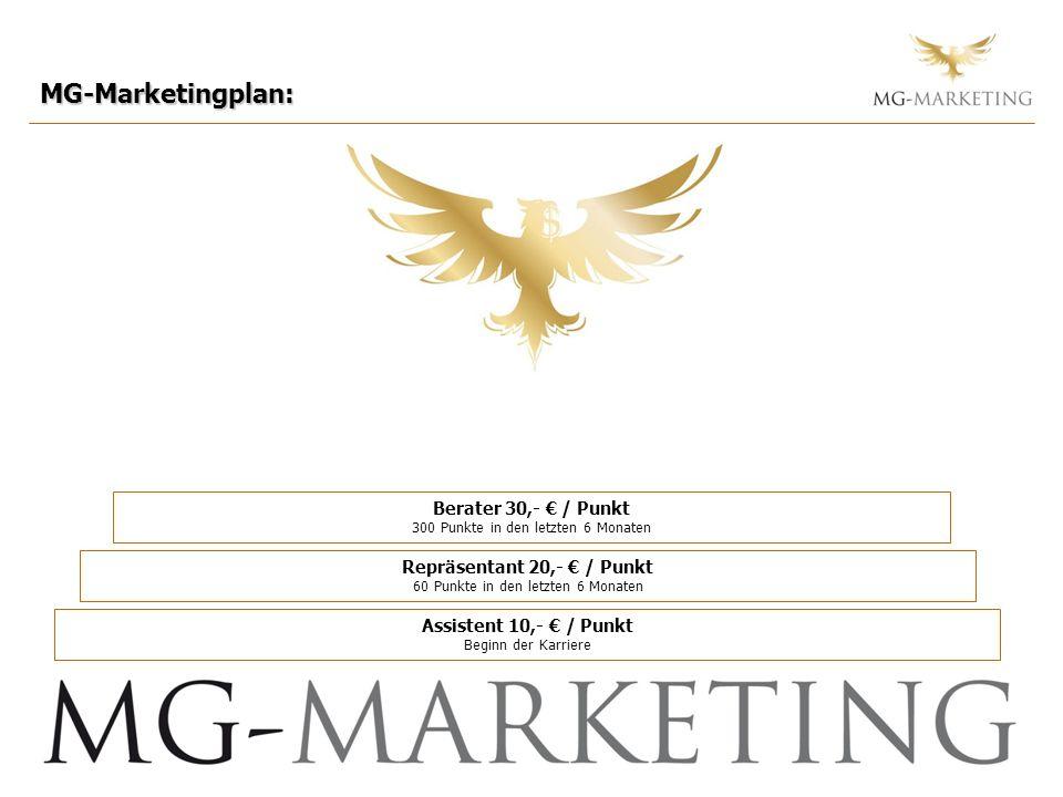 MG-Marketingplan: Berater 30,- € / Punkt 300 Punkte in den letzten 6 Monaten. Repräsentant 20,- € / Punkt 60 Punkte in den letzten 6 Monaten.