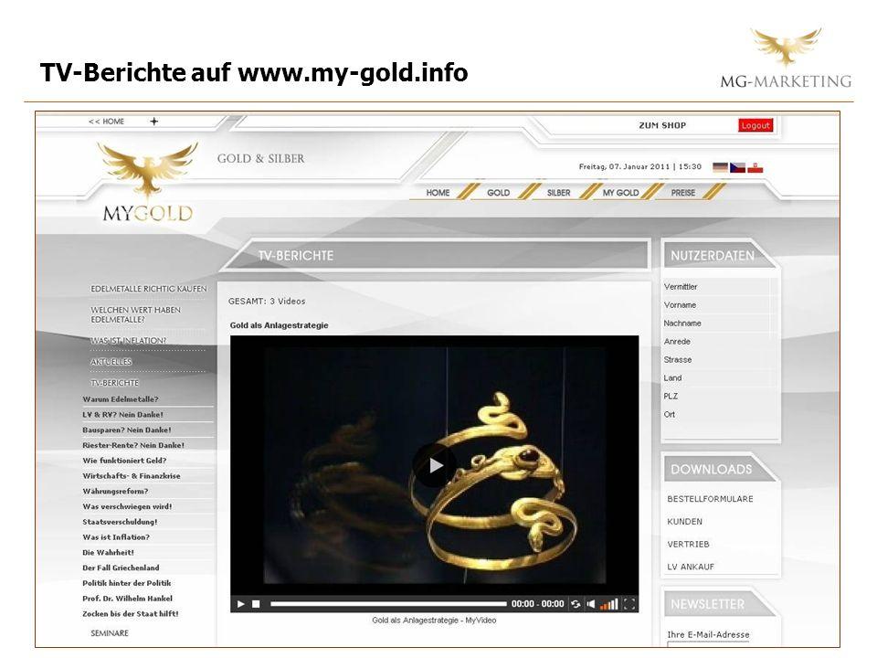 TV-Berichte auf www.my-gold.info