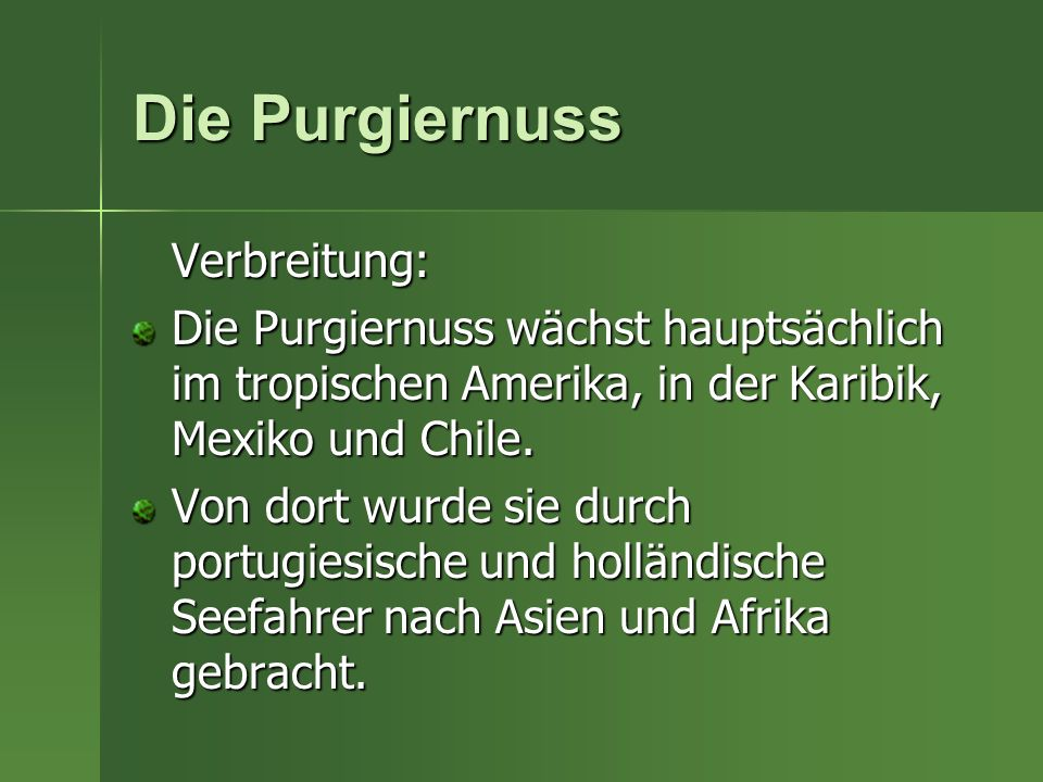 Die Purgiernuss Verbreitung: