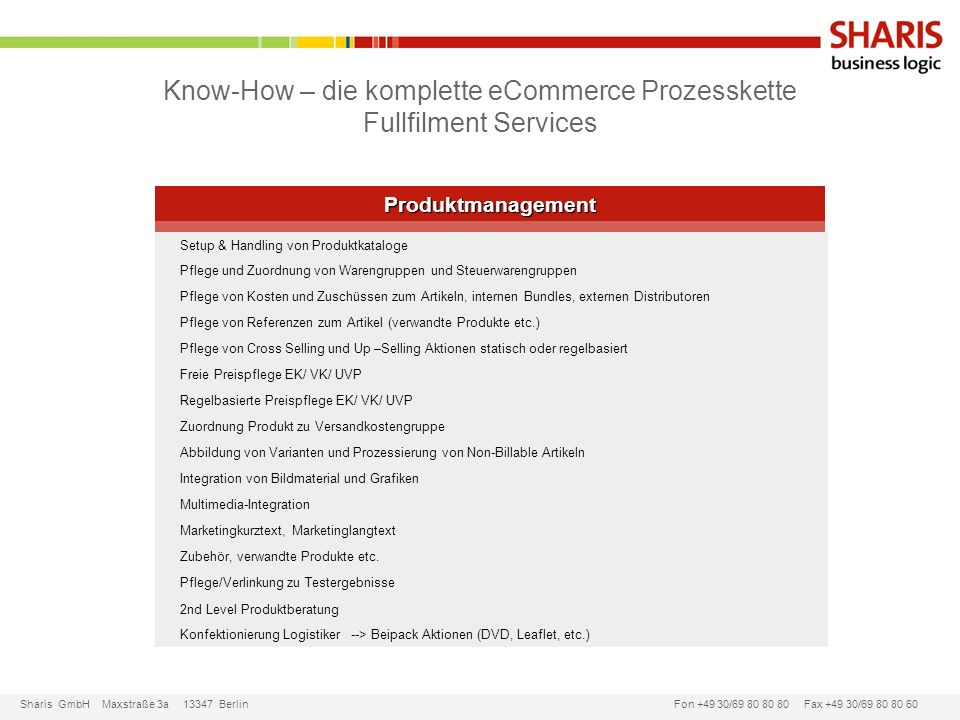 Know-How – die komplette eCommerce Prozesskette Fullfilment Services