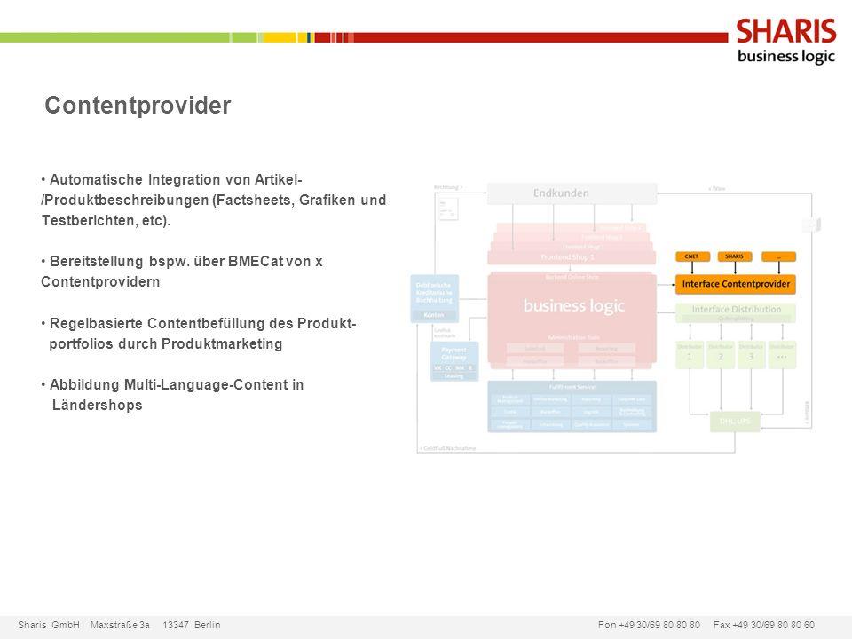 Contentprovider Automatische Integration von Artikel-/Produktbeschreibungen (Factsheets, Grafiken und Testberichten, etc).
