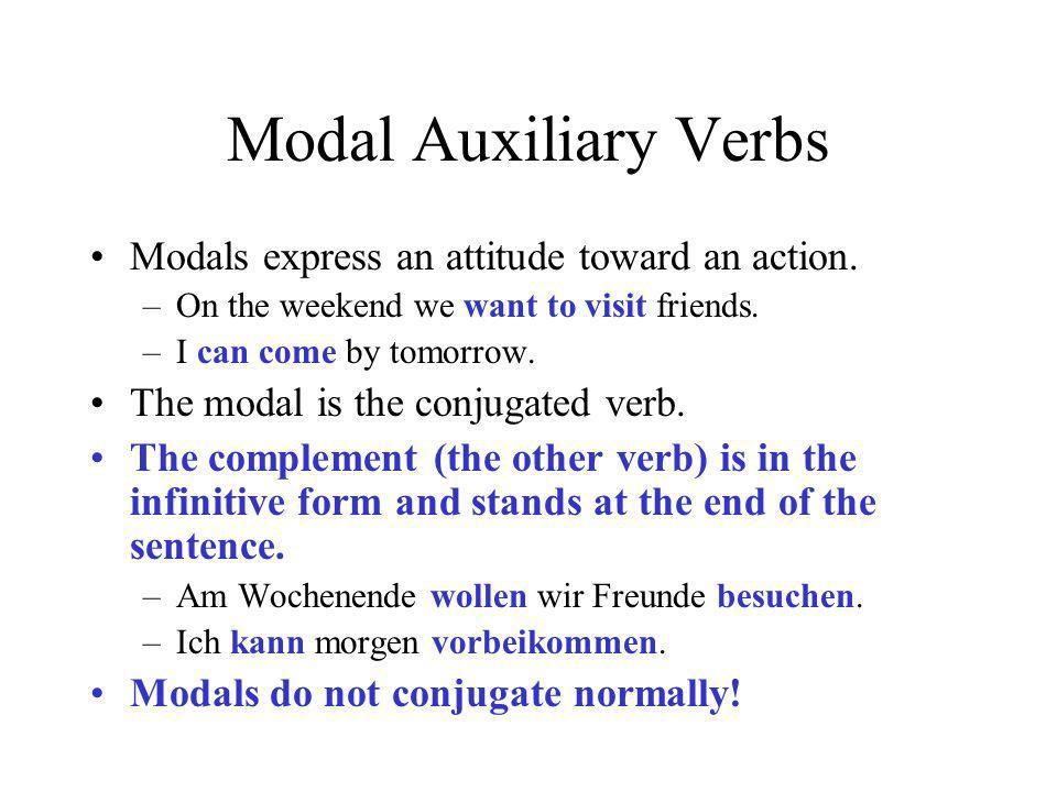 Modal Auxiliary Verbs Modals express an attitude toward an action.