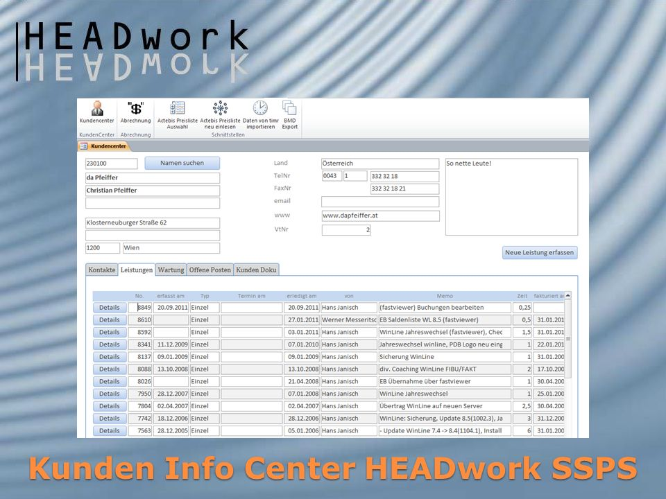 Kunden Info Center HEADwork SSPS
