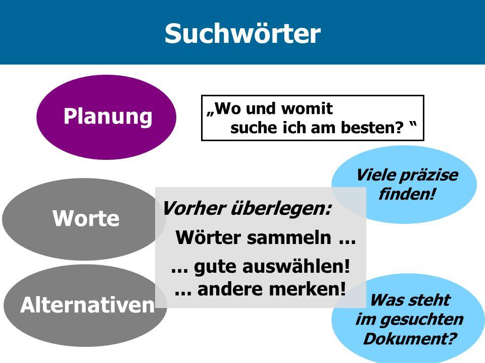 Suchwörter Planung Worte Alternativen Vorher überlegen: