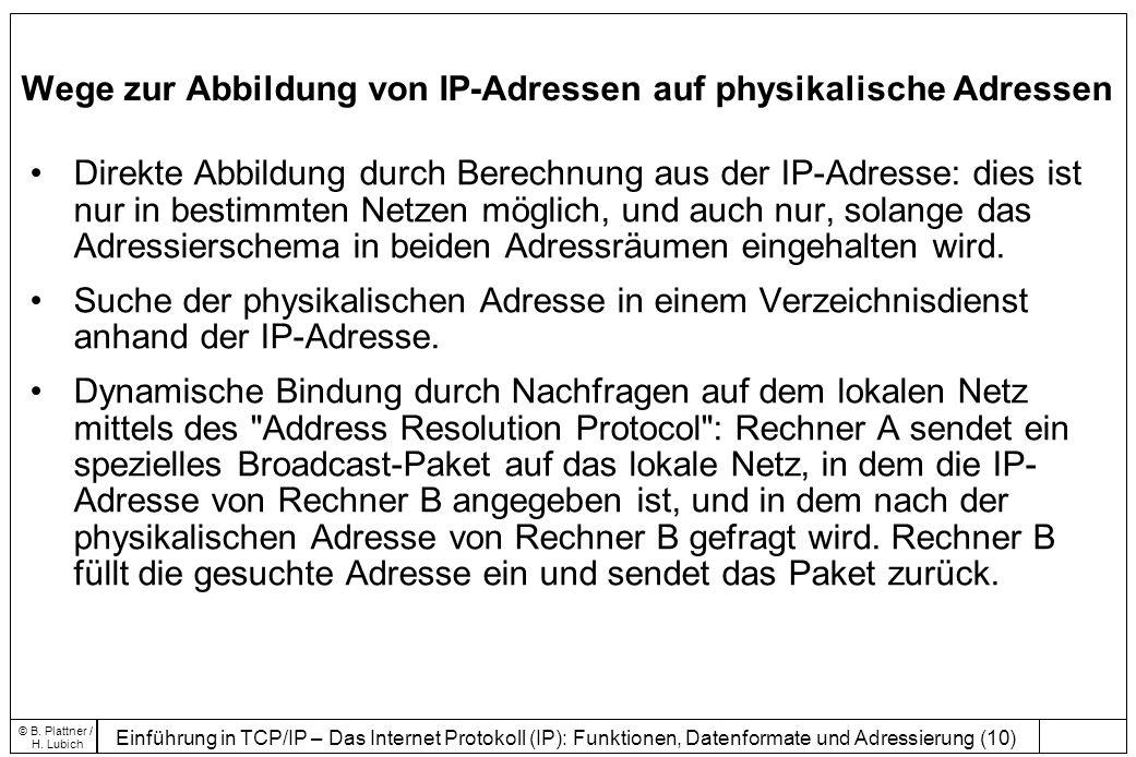 Wege zur Abbildung von IP-Adressen auf physikalische Adressen