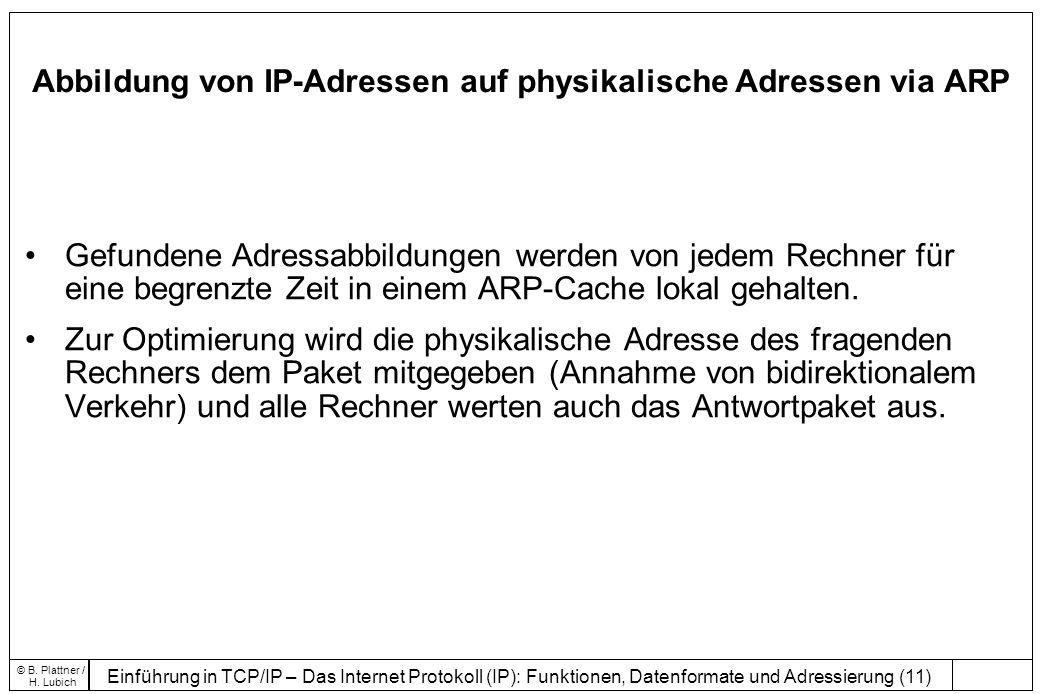 Abbildung von IP-Adressen auf physikalische Adressen via ARP