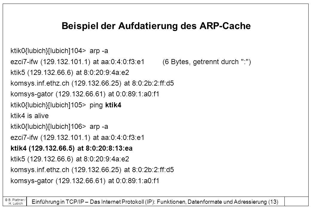 Beispiel der Aufdatierung des ARP-Cache