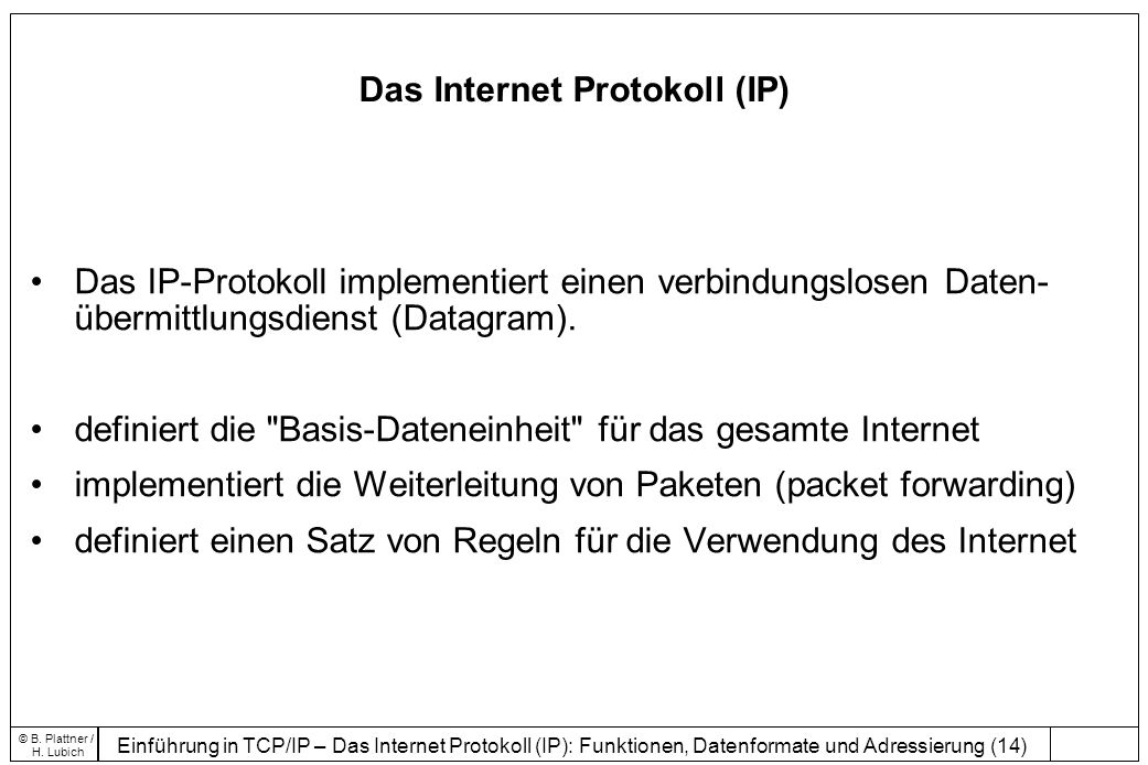 Das Internet Protokoll (IP)