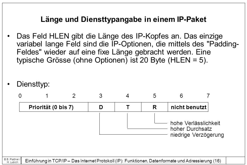 Länge und Diensttypangabe in einem IP-Paket