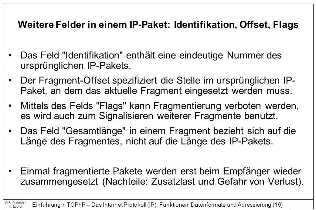 Weitere Felder in einem IP-Paket: Identifikation, Offset, Flags