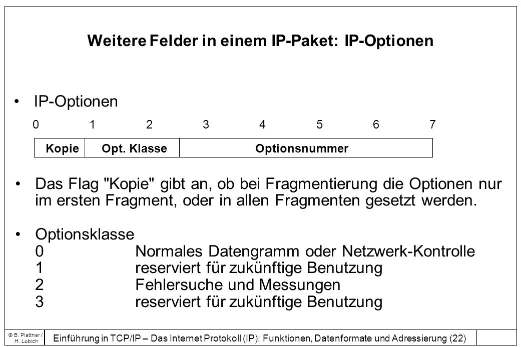 Weitere Felder in einem IP-Paket: IP-Optionen