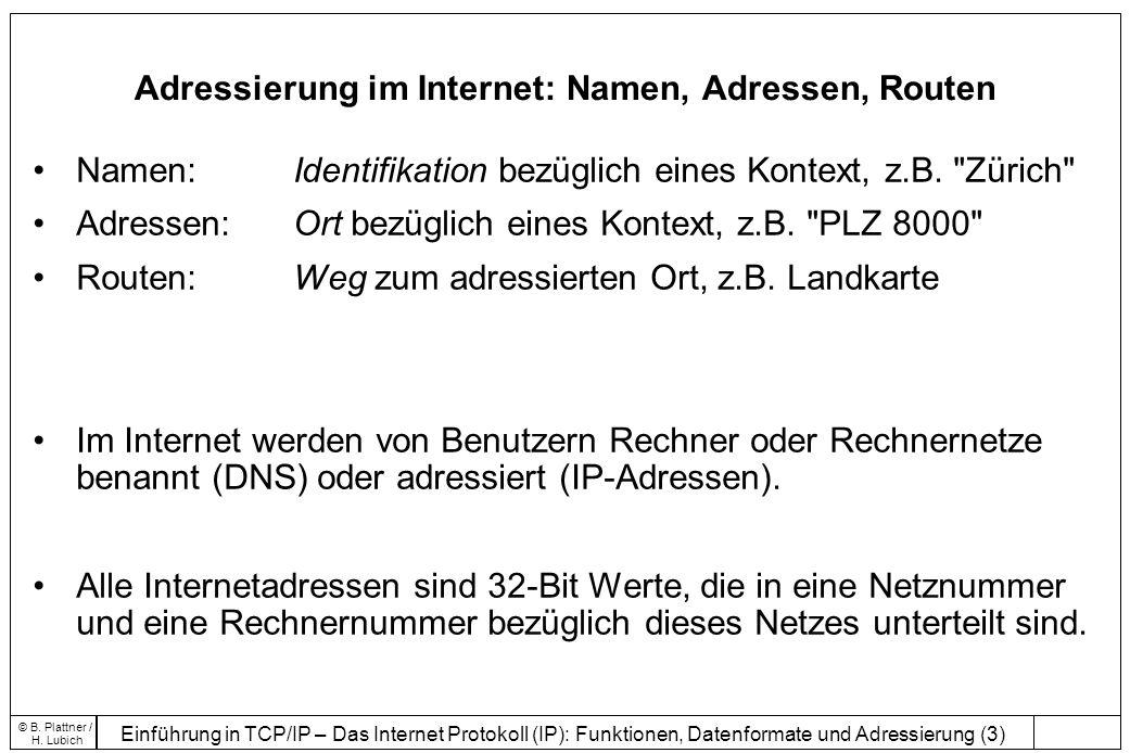Adressierung im Internet: Namen, Adressen, Routen
