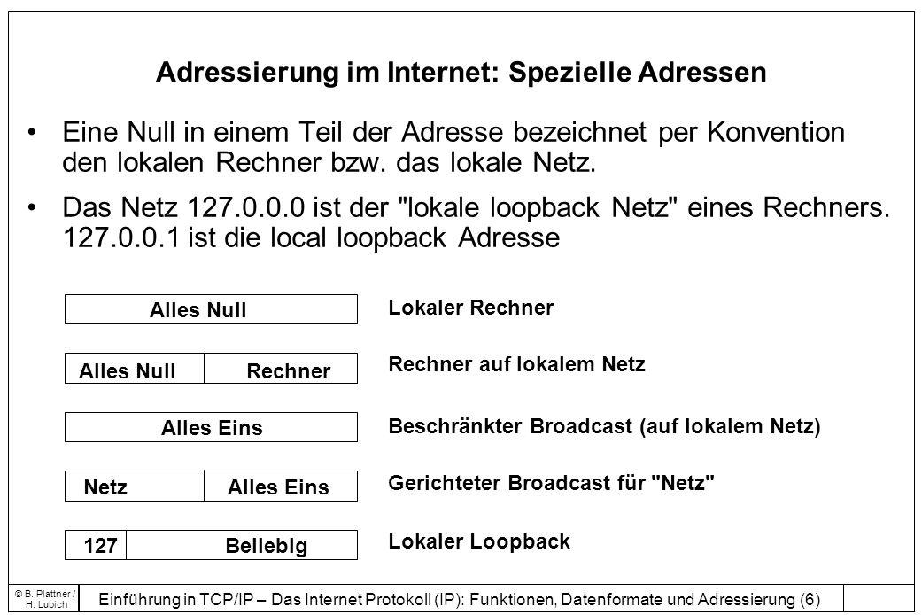Adressierung im Internet: Spezielle Adressen