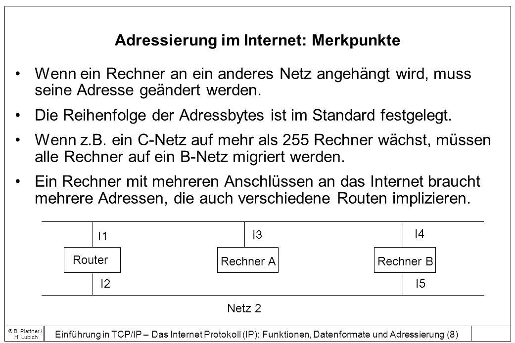 Adressierung im Internet: Merkpunkte
