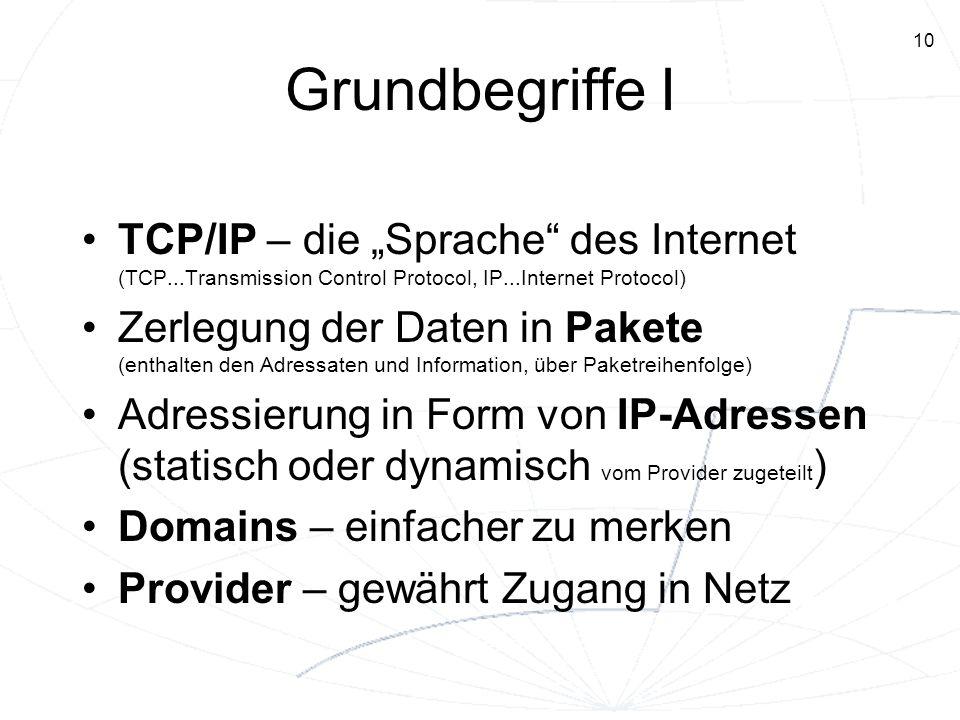 "Grundbegriffe I TCP/IP – die ""Sprache des Internet (TCP...Transmission Control Protocol, IP...Internet Protocol)"