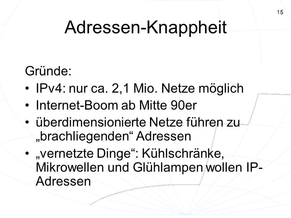 Adressen-Knappheit Gründe: IPv4: nur ca. 2,1 Mio. Netze möglich