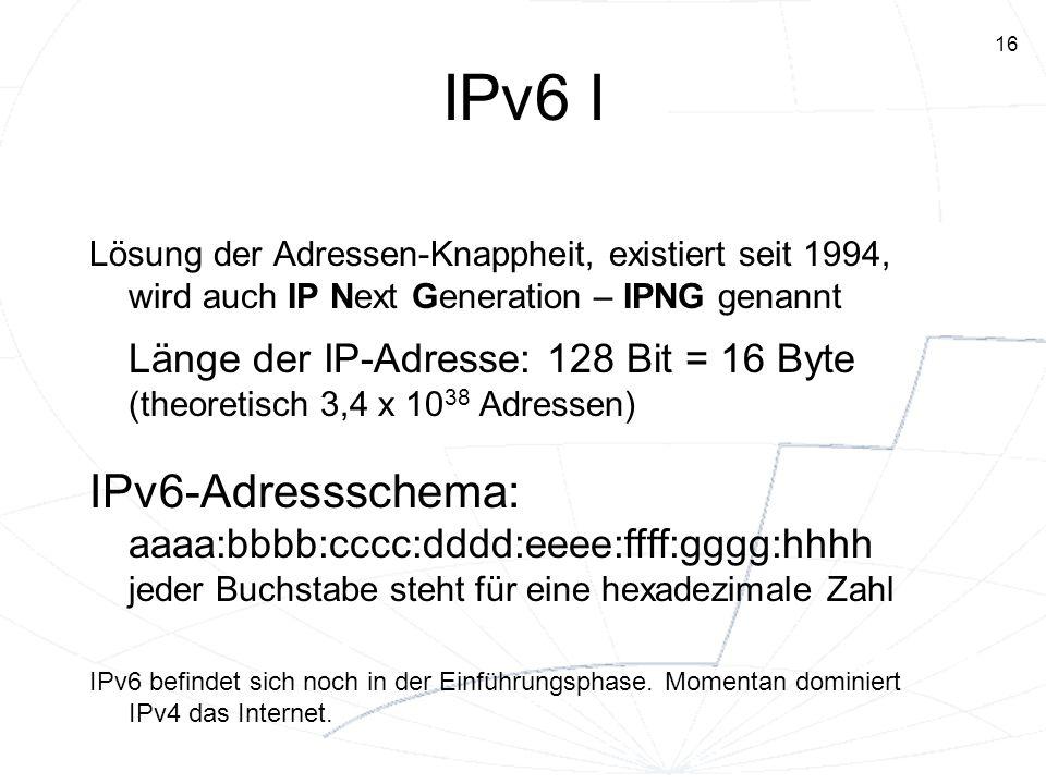 IPv6 I Lösung der Adressen-Knappheit, existiert seit 1994, wird auch IP Next Generation – IPNG genannt.