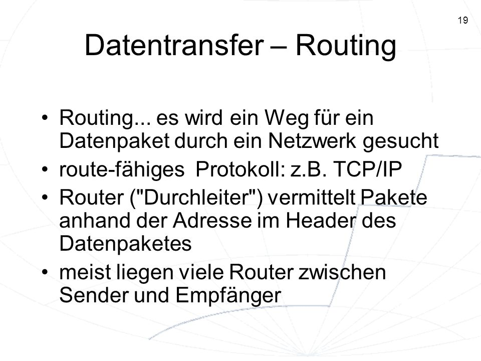 Datentransfer – Routing