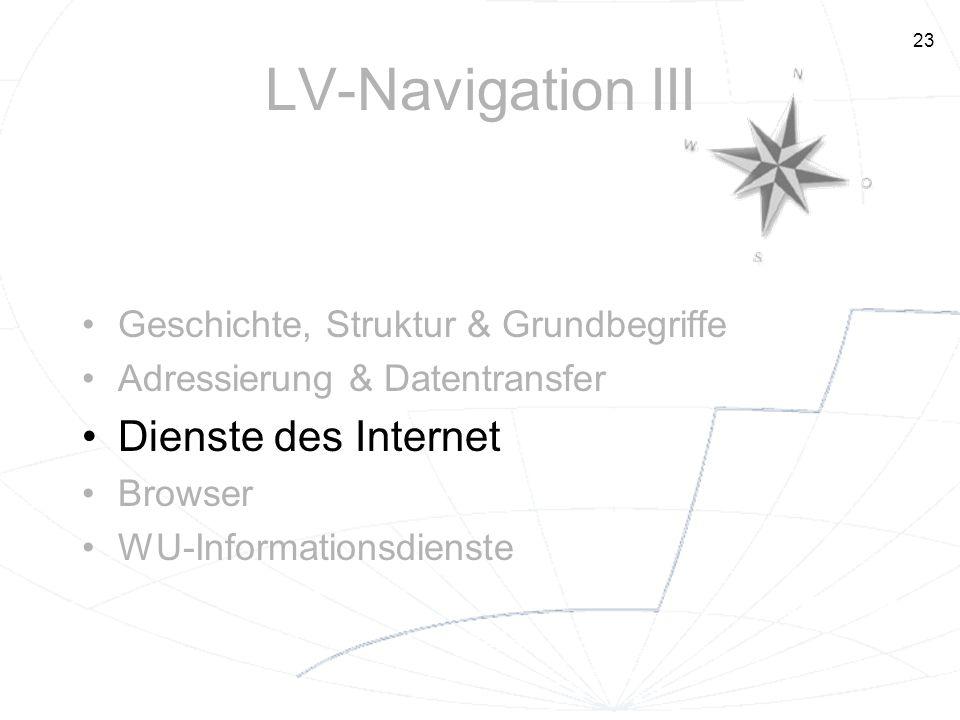 LV-Navigation III Dienste des Internet