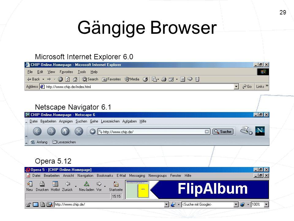 Gängige Browser Microsoft Internet Explorer 6.0 Netscape Navigator 6.1