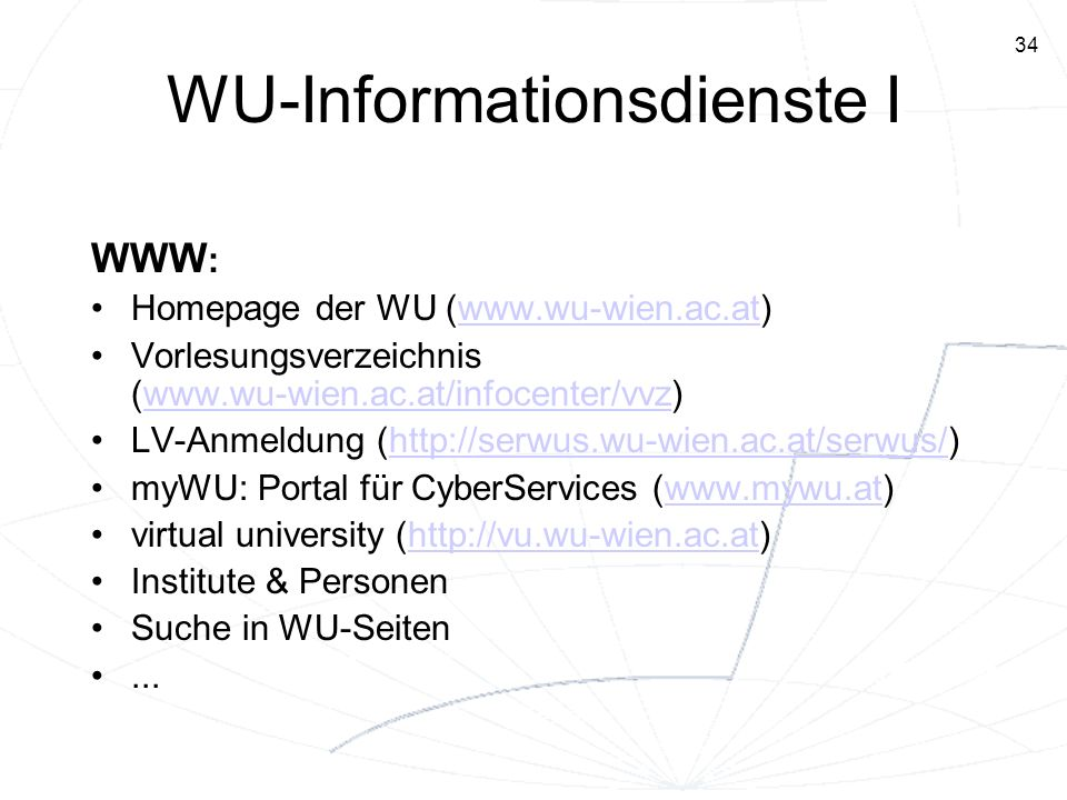 WU-Informationsdienste I